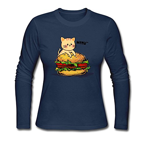 Kitten Long Sleeved T-shirt (TSHIRT JG Kitten In My Hamburger Women Sport Long Sleeved Tops)