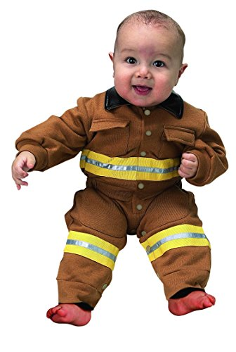 Jr. Fire Fighter Suit, size 6 to 12 Months (tan) (6 Piece Costume)