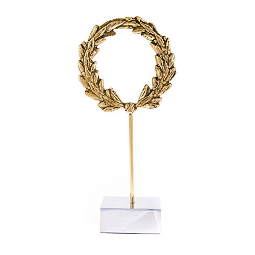 (EliteCrafters Elegant Handmade Solid Brass Metal, Laurel Wreath Sculpture, Table top Decorative Ornament, 10.2'' (26cm) Tall)