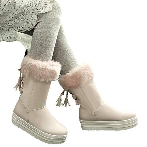 donna Donna Stivaletti donna Flat pelle Winter Beige Frange da in Heel Stivali eleganti Snow Scarpe Stivali Tacco da fwqFna