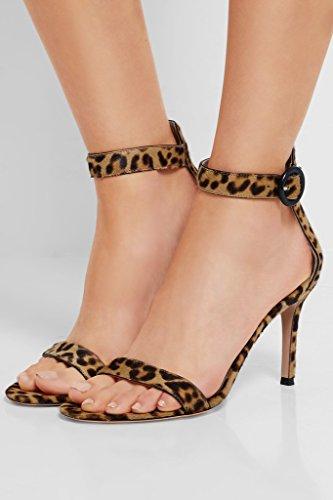 Cheville Stiletto Chaussures Talon Femme Bout Edefs Bride 8cm Ouvert À De Sandales Léopard xaqOP15Iw