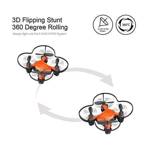 Virhuck volar-360 RC Nano Drone 2.4 GHz 4.5 CH 6 AXIS GYRO System Multicolor LED Lights Headless/One Key Return Mode Quadcopter Orange
