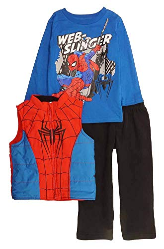 Marvel Little Boys' Toddler Spider-Man 3-Piece Vest & Pant Set, Blue/Red, 4T