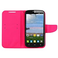 Cell-Pak ALCATEL One Touch Pop MEGA 2 Touch Wallet Case - Retail Packaging - Pink/Rose Red