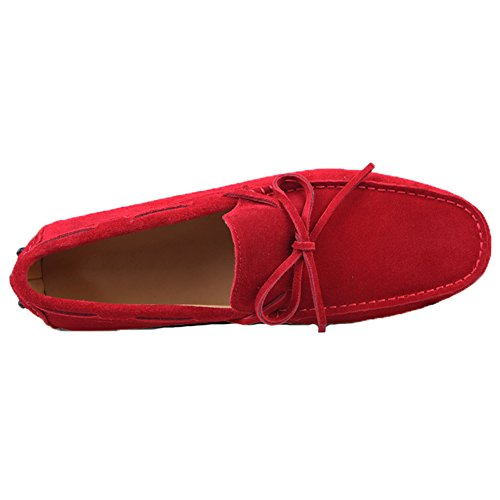 Santimon Hombres Suede Leather Driving Walking Mocasines Loafer Lace Zapatos Rojo