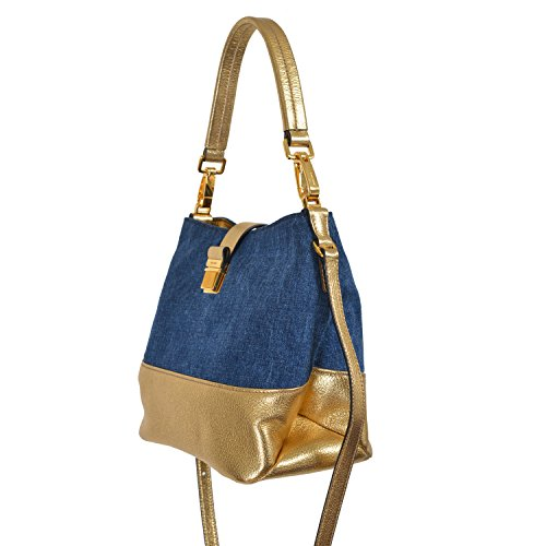 Miu-Miu-Womens-Multi-Color-Denim-Leather-Hobo-Shoulder-Bag-Handbag