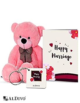 alDivo Happy Marriage Gifts of Soft Teddy Bear, Happy Marriage Key Ring, and Happy Marriage Greeting Card (MKD10098)