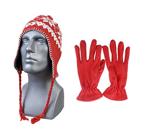 (Red) Peruvian Winter Hat Earflaps and Gloves. Womans Mens Unisex, One Size Fits All. Warm Thick Fleece Beanie Hat. New Fashion Snow Flake Design. Braided tie strings with Pom Pom. (New Earflap)