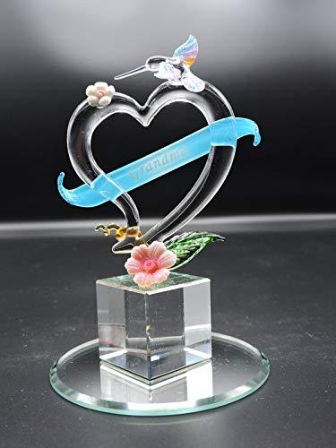 Handmade Glass Heart with Hummingbird and Scroll with Grandma