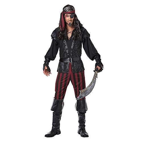 California Costumes Men's Ruthless Rogue Pirate Buccaneer Swashbuckler, Black/Red, X-Large
