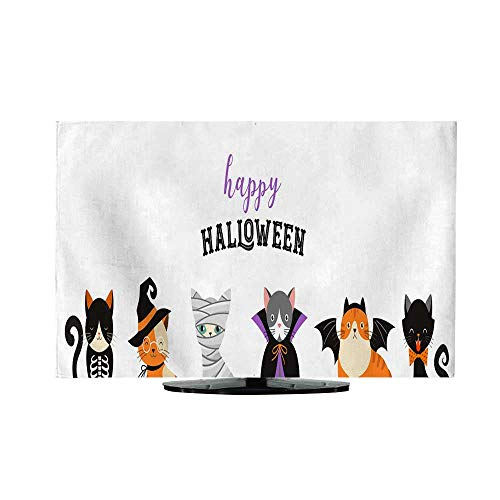 Television dustproof Cloth Happy Halloween Cats in Monsters Costumes Halloween Party Vector Illustration Banner Elements Set L37 x W38 ()