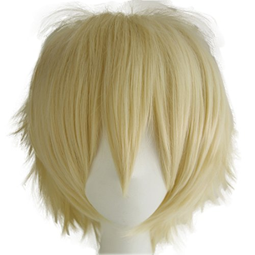 Alacos Unisex Cosplay Short Straight Hair Wig Anime Party Dresses Costume Fluffy Wigs Pale Blonde Wig+ Free Wig (Spiky Blonde Wig)