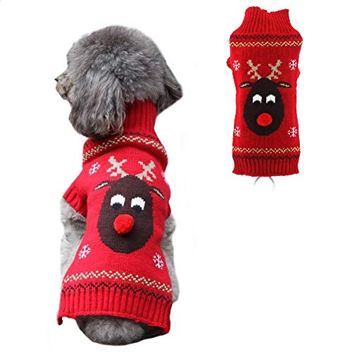 Stock Show Pet Xmas Sweater Dog Cat Christmas Reindeer Snowflakes Turtleneck Knit Sweater Winter Soft Warm Stretch Pullover Jumper Xmas Clothes Apparel for Small Medium Dogs Cats, Red