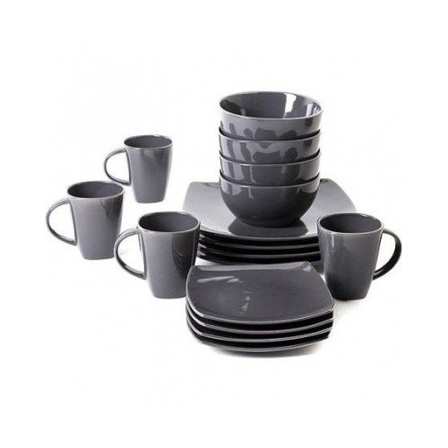 Square Dinnerware Service for 8, Plates Bowls Mugs, 32-Piece Set, Modern Gray by Gibson Home (Image #2)