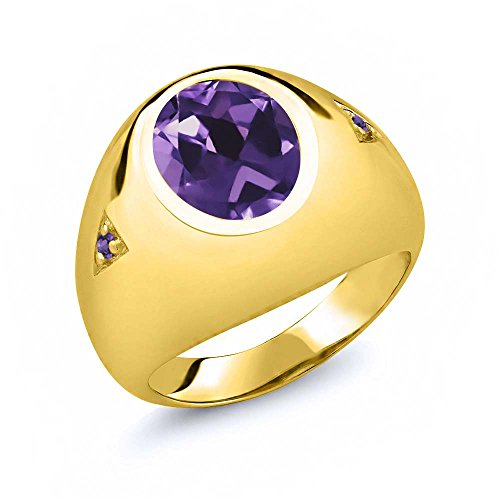 Oval Purple Amethyst 18K Yellow Gold Plated Silver Men's Ring