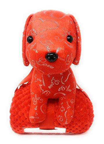 Stuffed Toys, Plush Ape Wild Animal Love Valentine Day, Aniversary Celebration (Puppy with Throw (RED))