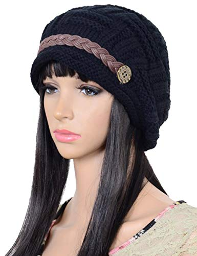 Styles Cold Weather Hats - ELACUCOS Women Winter Beanie Cabled Checker Pattern Knit Hat Button Strap Cap Black