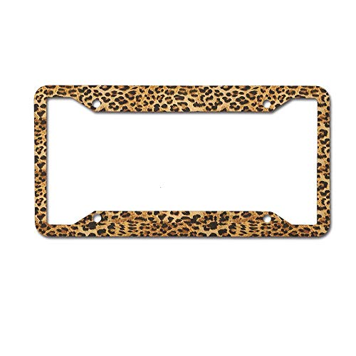 Dinzisalugg Custom Aluminum Metal License Plate Frame Tag Holder Cute,Leopard Print Animal Skin Digital Printed Wild African Safari Themed Spotted Pattern Art License Plate Frame 4 Holes and Screws