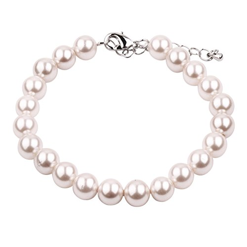 RUNXINTD Pearl Bracelet 8mm-9mm Round Pink White Pearl Bracelet in 3 Colors Wedding Jewelry (White Pearl Bracelet)