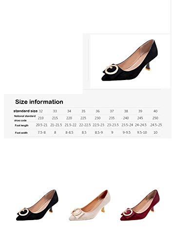 Altos Baja Boca Zapatos De Con Puntiagudos Mujer Aguja Femenino Tacones Arena Tacón Metal Estaciones Cuatro Beige Decorativos Sbl 5wInqtAf