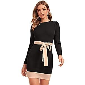 Verdusa Women's Colorblock Long Sleeve Belted Bodycon Short Dress