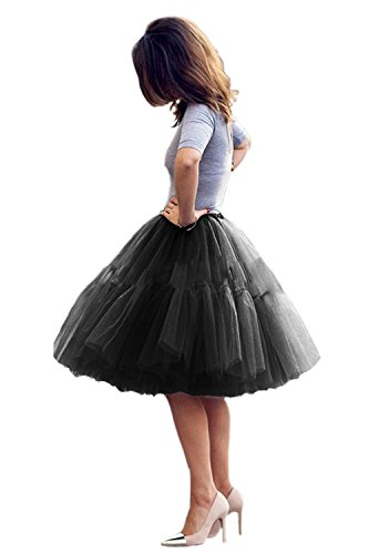 Tulle Skirt,Women's Midi Tulle Tutu Skirt Fluffy Princess Five Layers A line Party Prom Underskirt -