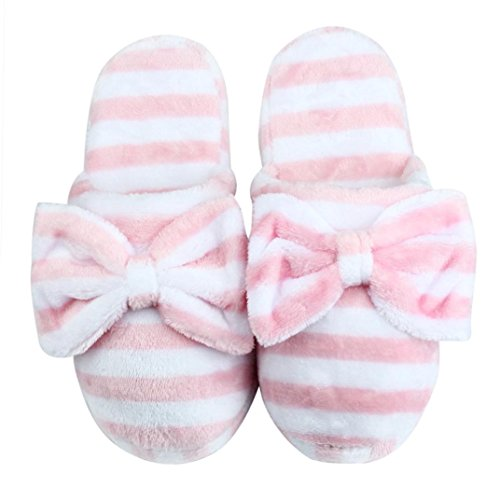 Tenworld Women Anti-slip Soft Warm Spa Bowknot Plush House Slippers (7-8, - Diy Backpack Lace