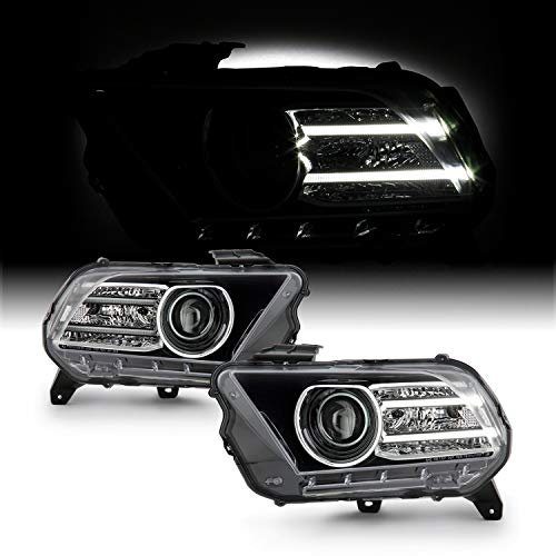Fits 2010 2011 2012 2013 2014 Ford Mustang Halogen Type [LED Tube] Projector Black Headlights Pair LH+RH Replacement