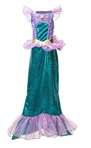 Mermaid Halloween Costumes Kids (Little Girls' Mermaid Costume Halloween Costume Mermaid Dress (6-8 Years))