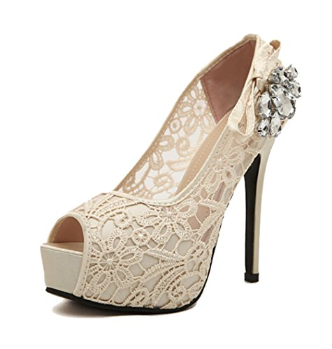 SMITHROAD Damen Peep-Toe Plateau High Heels Spitze Sandalen mit Strass Dekor 12 cm Stiletto Absatz Pumps Elegant Beige