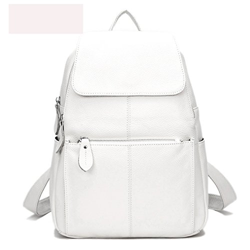 15 Colors Real Soft Leather Women Backpack Fashion Ladies Travel Bag Preppy Style Schoolbags For Girls (Pure - New Large Genuine Backpack Leather