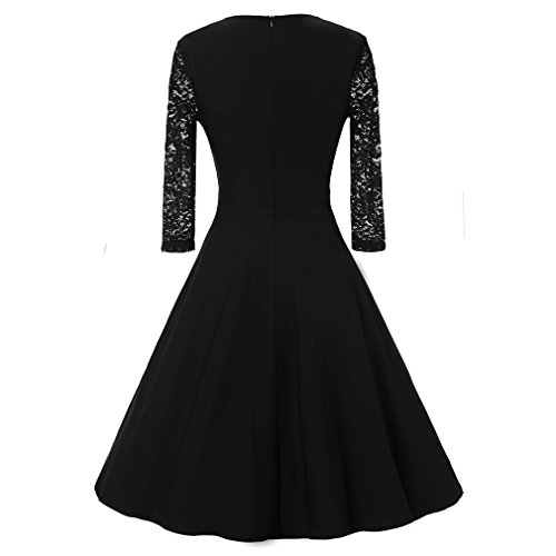 La vogue Damen Abendkleid Knielang Cocktailkleid Vintage 3/4 Arm mit ...