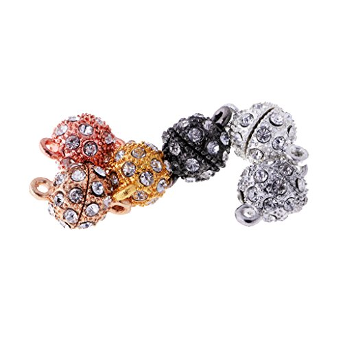 Dovewill 6 Pieces Bling Rhinestone Pave Ball Magnetic Beads Clasp Strong Jewelry Findings for Bracelet Necklace Jewelry Making 10 Mm Pave Ball