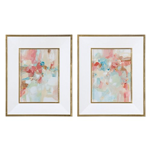 Uttermost Glass Print (A Touch of Blush and Rosewood Fences 2-Piece Wall Art Set)