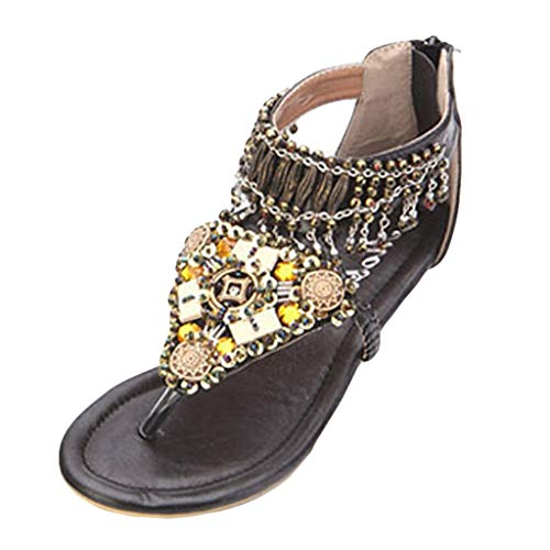 Sunhusing Women's Ethnic Style Crystal Beaded Embellishment Low Wedge Clip Toe Flip Flops Summer Boho Sandals Black