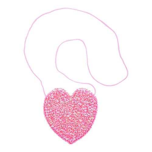 Shu-Shi Girls Purse Sequin Heart Shaped Small Bag Crossbody with Long Strap
