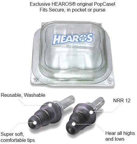 HEAROS High Fidelity Series Ear Plugs for Comfortable Long Term Use with Free Case 1 Pair