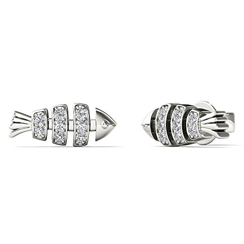 JewelAngel Women's 10K White Gold Diamond Accent Fish Bone Stud Earrings (H-I, I1-I2) ()