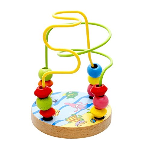 KateDy 1 pc Colorful Wooden Toy Baby Kids Wooden Mini Around Beads Educational Game Toy
