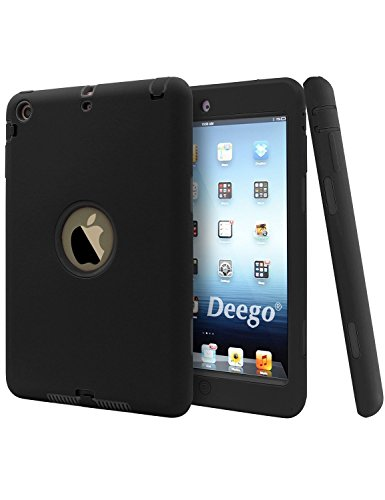 iPad Mini 2 Case, iPad Mini 3 Cover, vogue shop Shock-Absorption Smart Slim Fit Bumper Hard Cases and Three Layer Armor Defender Full Body Protective Cover for Apple iPad Mini 1 2 3 Tablet (Black)