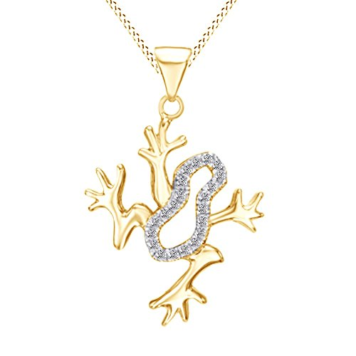 1/10 CT White Natural Diamond Frog Pendant Necklace in 14k Yellow Gold Over Sterling Silver (1/10 (Diamond Frog Pendant)