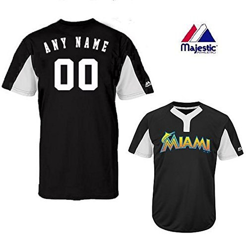 2-Button Cool-Base Miami Marlins 2-Color Black/White Blank or CUSTOM Back (Identify/#) MLB Officially Licensed Baseball Placket Jersey – DiZiSports Store
