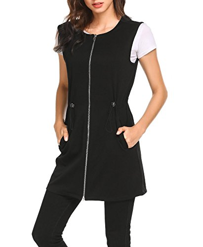 Pinspark Women's Long Sleeveless Zipper Vest Jacket Collarless Cardigan Blazer Black