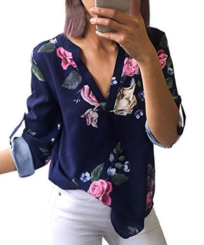 Imprime Automne Chemisiers Femmes Bleu Hauts Chemises Tee Printemps V Shirts Blouse Manches et Longues Fashion Casual Col Tops 7wOET5qE