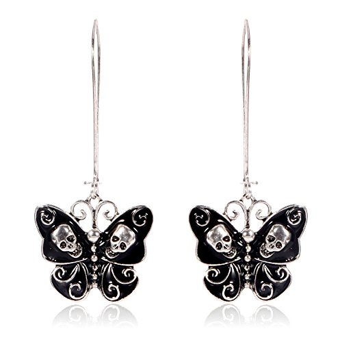 Black and Silver Skull and Swirl Butterfly Drop (Butterfly Earrings Jewelry)