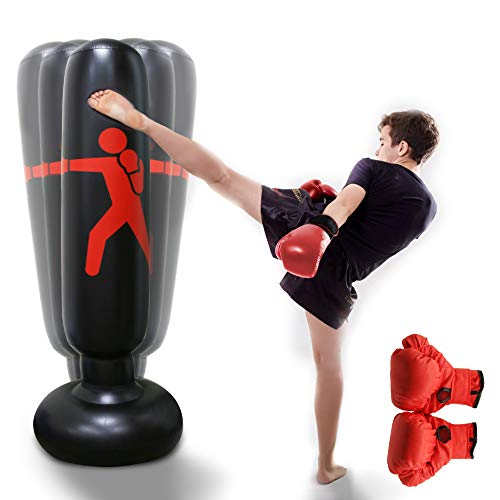 HANDSONIC Inflatable Boxing Punching Bag, Fitness Punching Bag for Kids/Adult, Vertical Boxing Column Tumbler Sandbags…