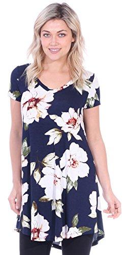 Popana Women's Tunic Tops for Leggings Short Sleeve Summer Shirt Made in USA Large ST84