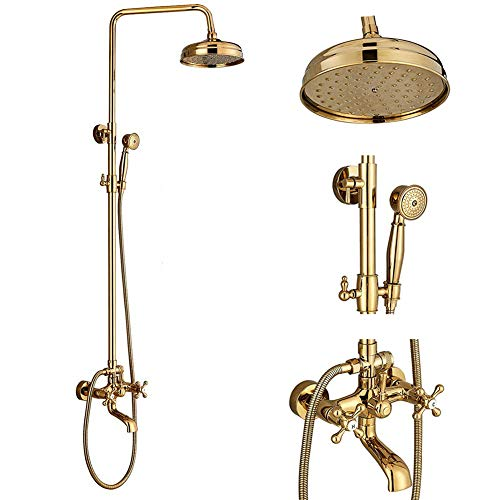 - Votamuta Gold Finish Bathroom 8-Inch Rainfall Shower faucet Set Wall Mounted Bathtub Shower Mixer Tap with Hand Sprayer