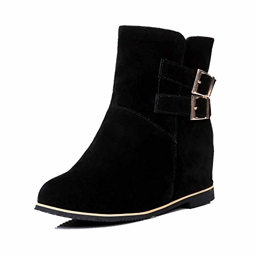 Round Boots on High Imitated Solid Toe Suede Black Heels AmoonyFashion Pull Womens Closed WZRfwPqWg
