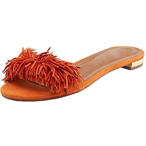 Comfity Muilde Muilezels Voor Vrouwen, Kwast Backless Slides Slip Op Jurk Pantoffels Oranje